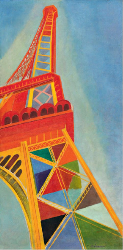"Reproduction of a painting by Robert Delaunay, ""La Tour Eiffel"", 1926, selected by Karl Lagerfeld to illustrate the show invitation"