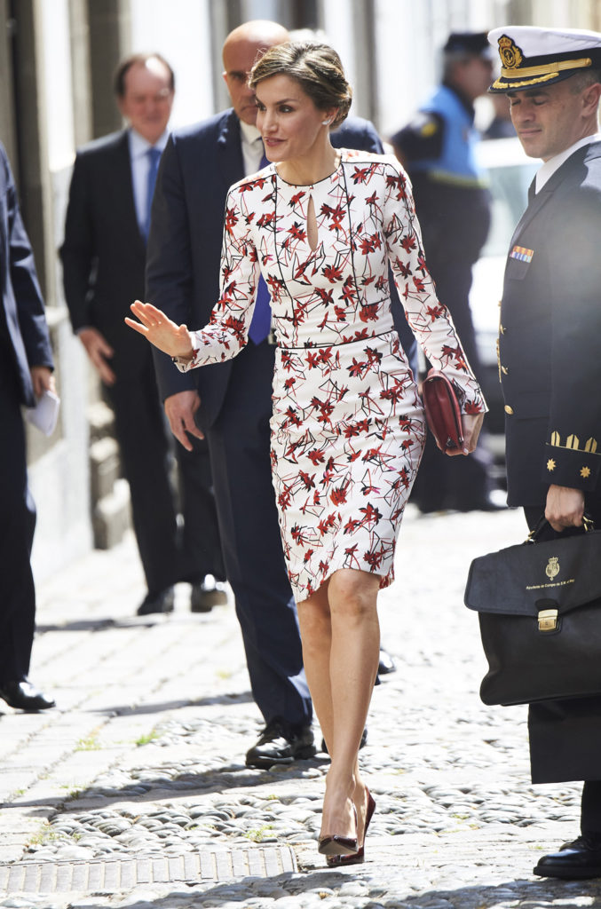 Queen Letizia; Carolina Herrera dress; March 2017
