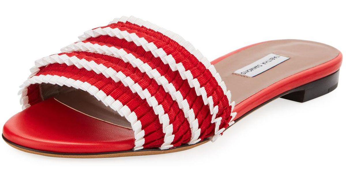 tabitha-simmons-REDWHITE-Sprinkles-Pleated-Grosgrain-Slide-Sandal